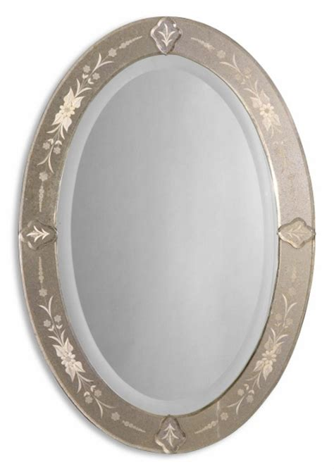 oval wall mirrors decorative antique chic etched beveled oval decorative glass