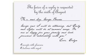 how to fill out a wedding rsvp card rsvp etiquette traditional favor accepts regrets placement