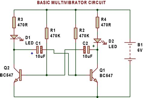 circuit diagram of astable multivibrator multivibrator buildcircuit electronics