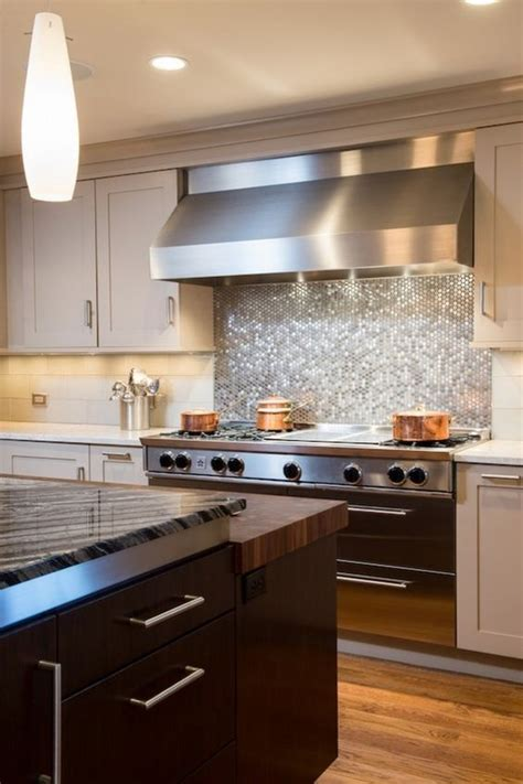 stainless steel kitchen backsplash tiles 28 creative penny tiles ideas for kitchens digsdigs