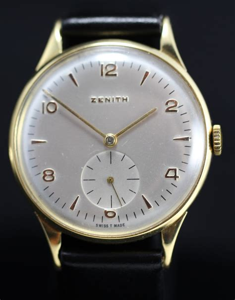 1955 vintage zenith 18k gold from vintagewatches on