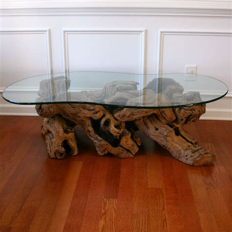 Old Crate And Barrel Driftwood Coffee Table With Glass Top For Living Room Furniture Decoration