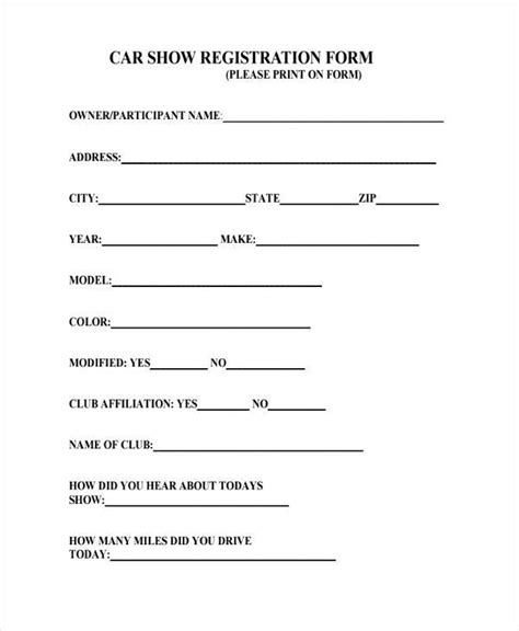 free car show registration form template car show sign up form gallery cv letter and
