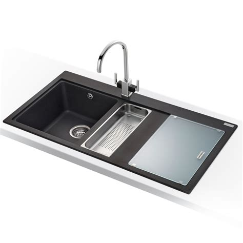franke mythos 1 5 bowl granite onyx black kitchen sink