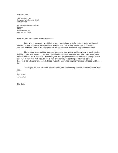 Gymnastics Coach Cover Letter by Cover Letter For Opportunity Covering Letter Exle