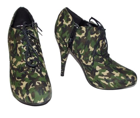 new green camo army camouflage high heel ankle boots