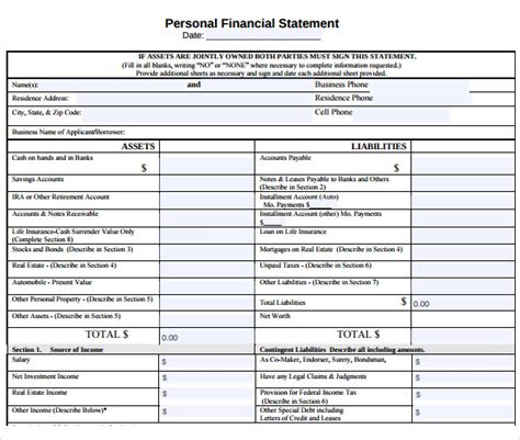 12 Sle Personal Financial Statements Sle Templates Personal Financial Statement Template Pdf