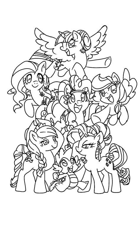 Mlp Mane 6 Lineart By Mlpanimelover123 On Deviantart Coloring Pages 6 490x521