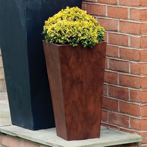 Planters Outdoor by Square Resin Novelty Ella Planter 19 5 In Teak