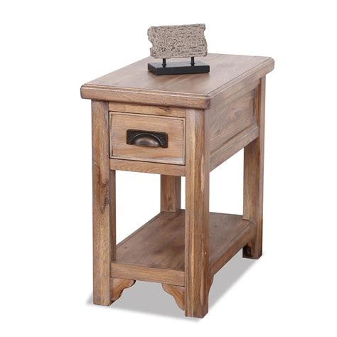 Chair Side Table Leick Rustic Slate Chairside Small End Table Rustic Oak Finish Home Furniture Living