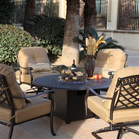 darlee sedona  piece aluminum patio fire pit seating set