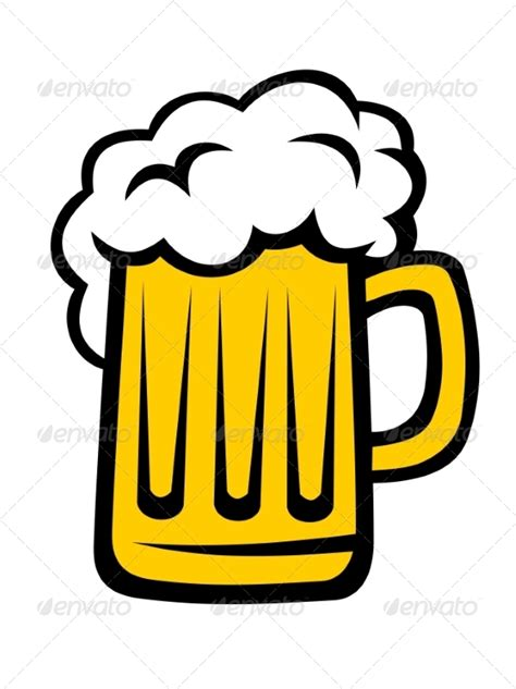 cartoon beer pint graphicriver pint of beer with a big head of froth 7043334