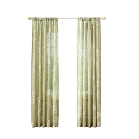 curtains at home depot home decorators collection sheer green leaf embroidery rod