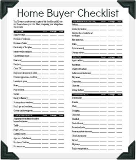 house checklist hud homebuyer checklist bring one to each home you tour