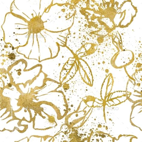 floral pattern in gold seamless pattern with gold flowers by cofeee graphicriver