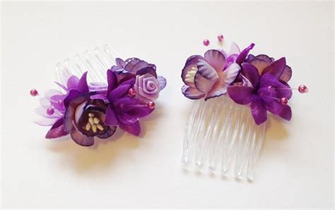 Set Of 2 Flower Hair Comb wedding flower hair comb purple floral comb bridal hair
