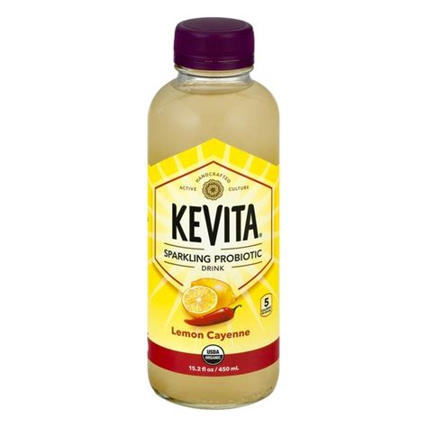 Cayenne Detox Drink by Kevita Delicious Vitality Sparkling Probiotic Drink Lemon