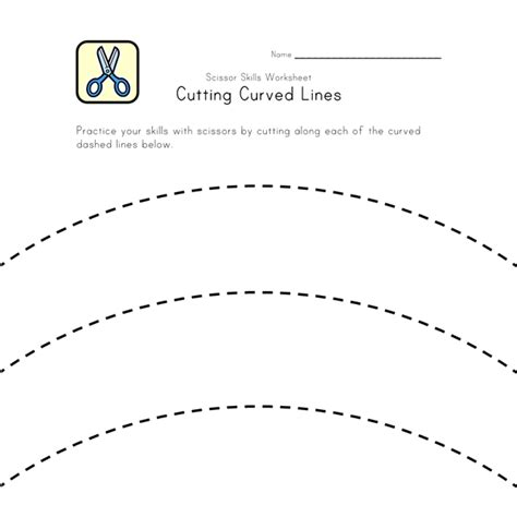 Cutting Worksheets by Scissor Skills Cutting Curved Lines All Network