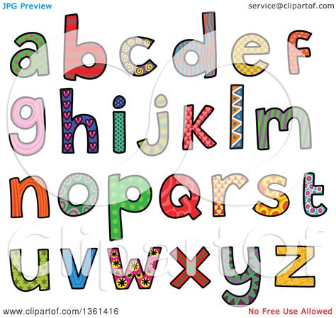 5 Letter Words Vector clipart of colorful sketched lowercase alphabet letter