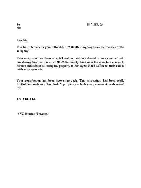 Resignation Acceptance Relieving Letter Format Resignation Relieving Letter