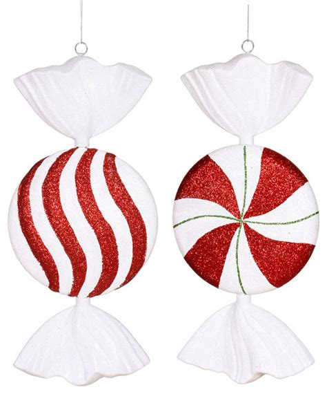 vickerman company 13 quot peppermint candy assorted set of 2