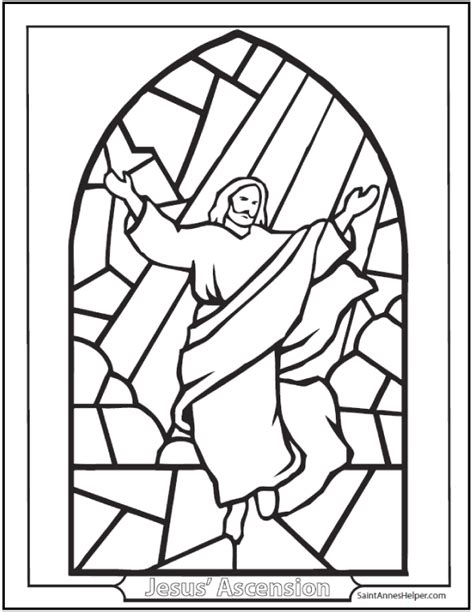 Ascension Coloring Page Jesus On Stained Glass Window Jesus Ascension Coloring Page