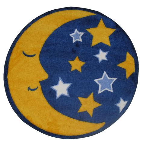 Moon And Rug by La Rug Time Shape Moon Yellow Blue And White
