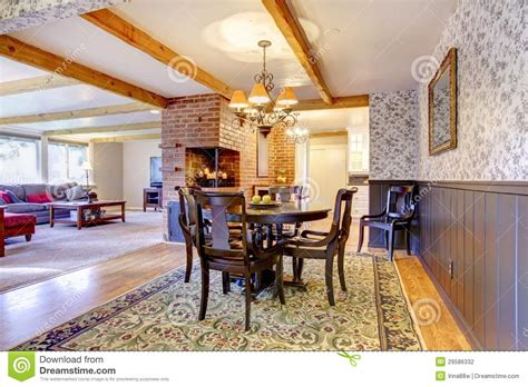 restaurants with rooms near me dining room near brick fireplace and living room stock photography image 29586332