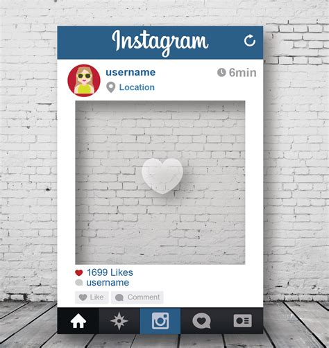 instagram card template custom instagram photo prop frame displays for