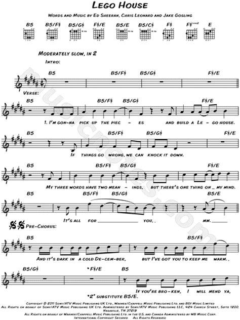 lego house music sheet ed sheeran quot lego house quot sheet music leadsheet in b major download print sku mn0140452
