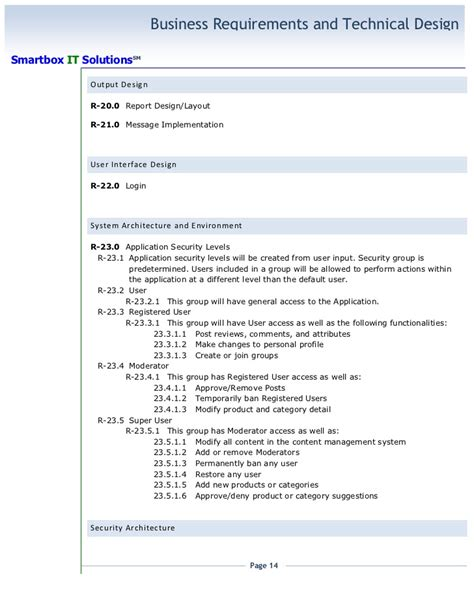 project business requirements document