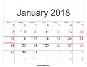 Calendar 2018 January Printable January 2018 Calendar Printable With Holidays Pdf And Jpg