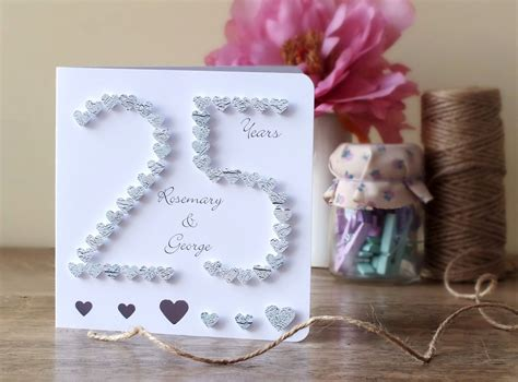Handmade 25th Anniversary Cards - handmade 3d silver wedding anniversary card 25th anniversary