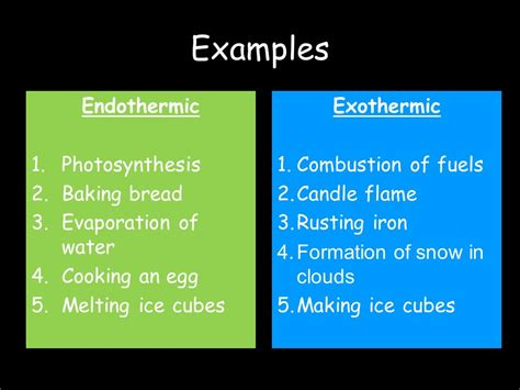 exle of endothermic reaction exothermic and endothermic reactions ppt