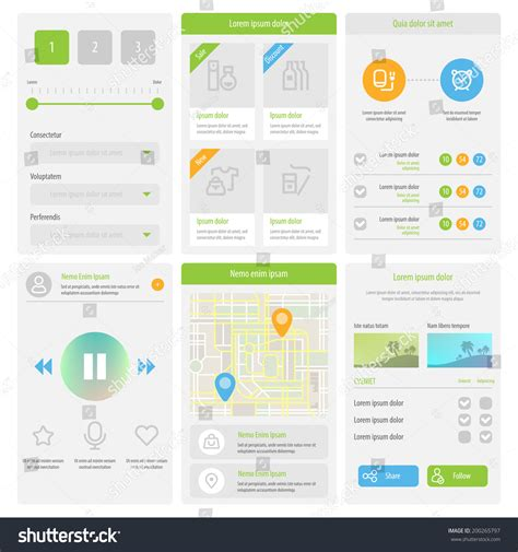 design app buttons flat mobile ui design set of flat web elements icons and