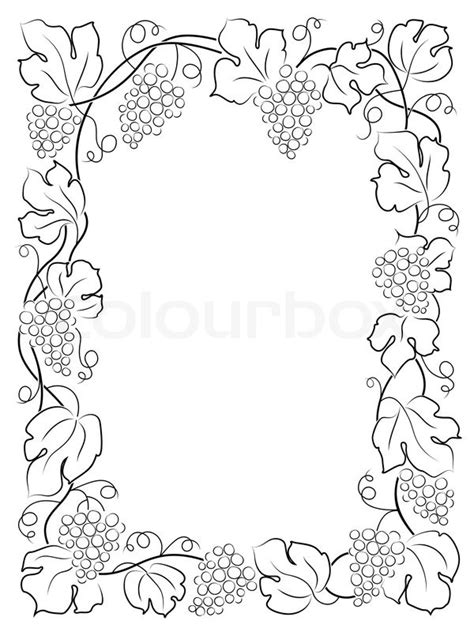 Home Colour Decoration by Black Calligraphy Frame Wine Label Vine Grapes Stock