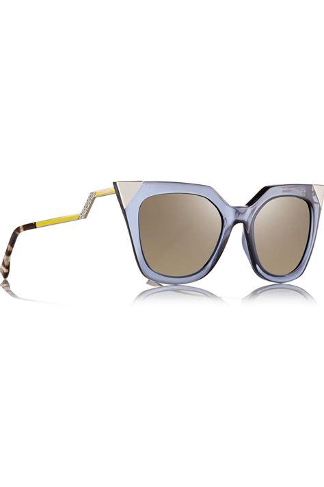 Fendi Be Like Sunglasses On Pict 1 fendi embellished cat eye acetate mirrored sunglasses in blue lyst