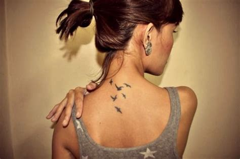tiny birds tattoo on back of neck tattoos pinterest