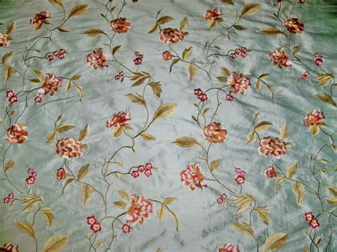 embroidered fabrics silk loom galeena embroidered floral silk fabric blue