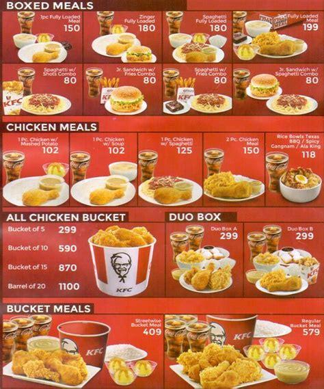 kfc buffet menu kfc menu menu for kfc diliman quezon city zomato