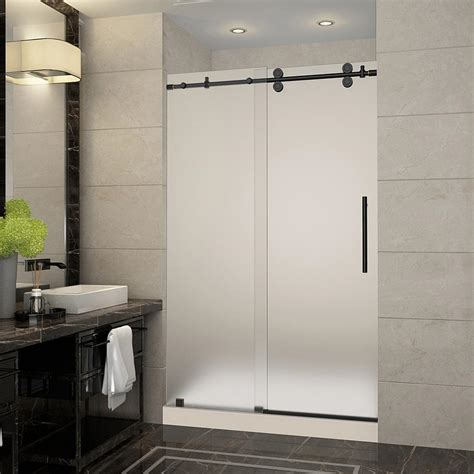 Frameless Frosted Glass Shower Doors Aston Langham 48 In X 36 In X 77 5 In Frameless Sliding Shower Door With Frosted Glass In