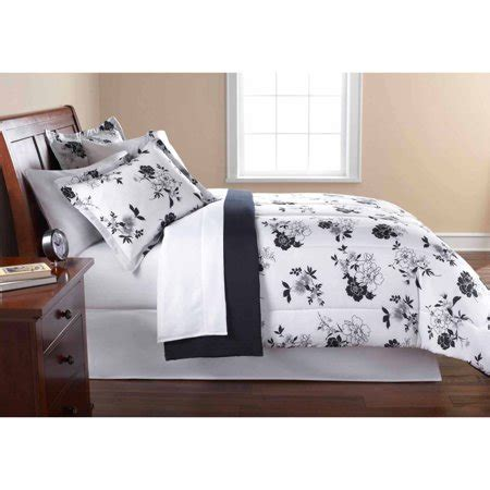 k mart bedspreads mainstays black and white floral bed in a bag comforter set walmart