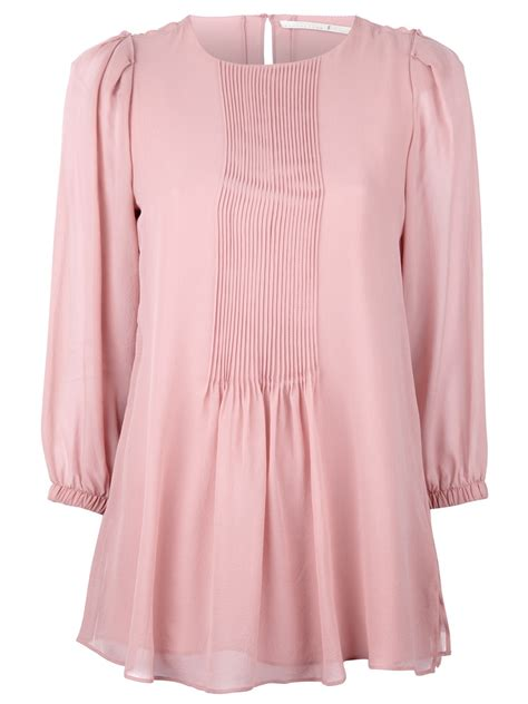 Pleated Blouse Pink schumacher pleated blouse in pink lyst