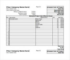 Cost Estimate Spreadsheet Template by Blank Estimate Template 23 Free Word Pdf Excel