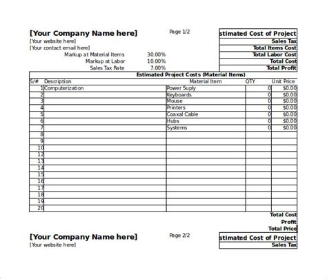 Project Cost Estimate Template Spreadsheet blank estimate template 23 free word pdf excel