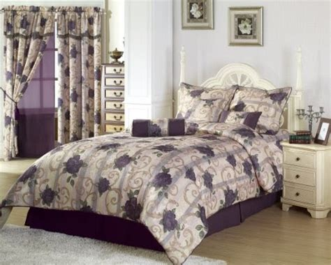 purple rose comforter set chezmoi collection 7 pieces purple rose flower garden