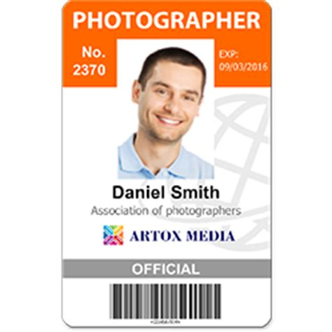 photographer id card template idcreator custom photo id cards and badges free id badge maker