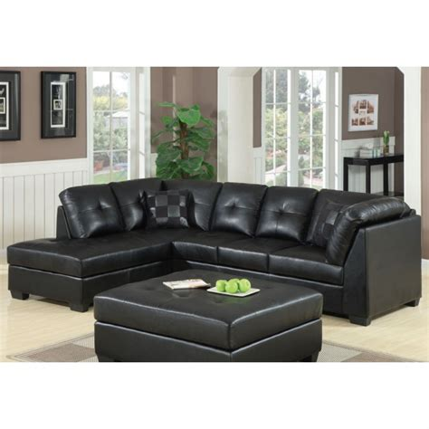 Darie Leather Sectional Sofa Coaster Darie Leather Sectional Sofa With Left Side Chaise In Black