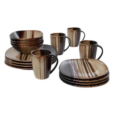 hometrends 16 bazaar brown dinnerware set walmart