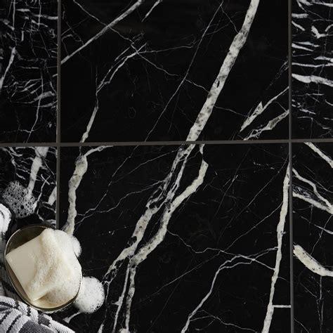 black marble effect marble wall floor tile pack